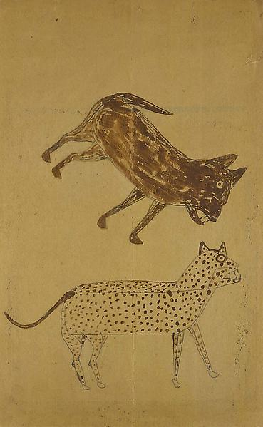 Cat and Dog, c.1939-42 pencil and tempera on cardb...