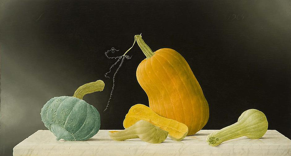 Untitled (Still Life with Gourds), 1964 oil on woo...