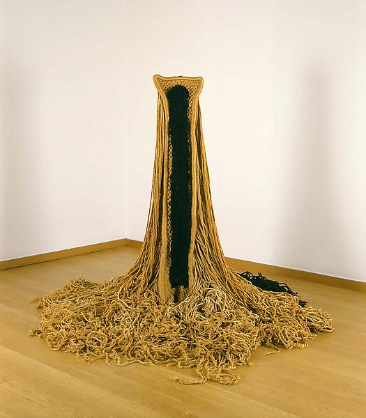 "Untitled, c.1968 jute with metal and wood base 47""..."