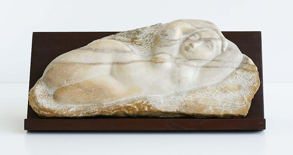 """Odalisk (view 1), 1961 yellow marble 10 5/8"""" x 23""""..."""